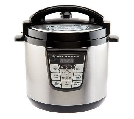 digital pressure cooker cooksessentials 6 qt nonstick stainless steel digital 10086