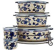 Temp-tations Floral Lace Basketweave 9-Piece Oval Bakeware Set - K46952