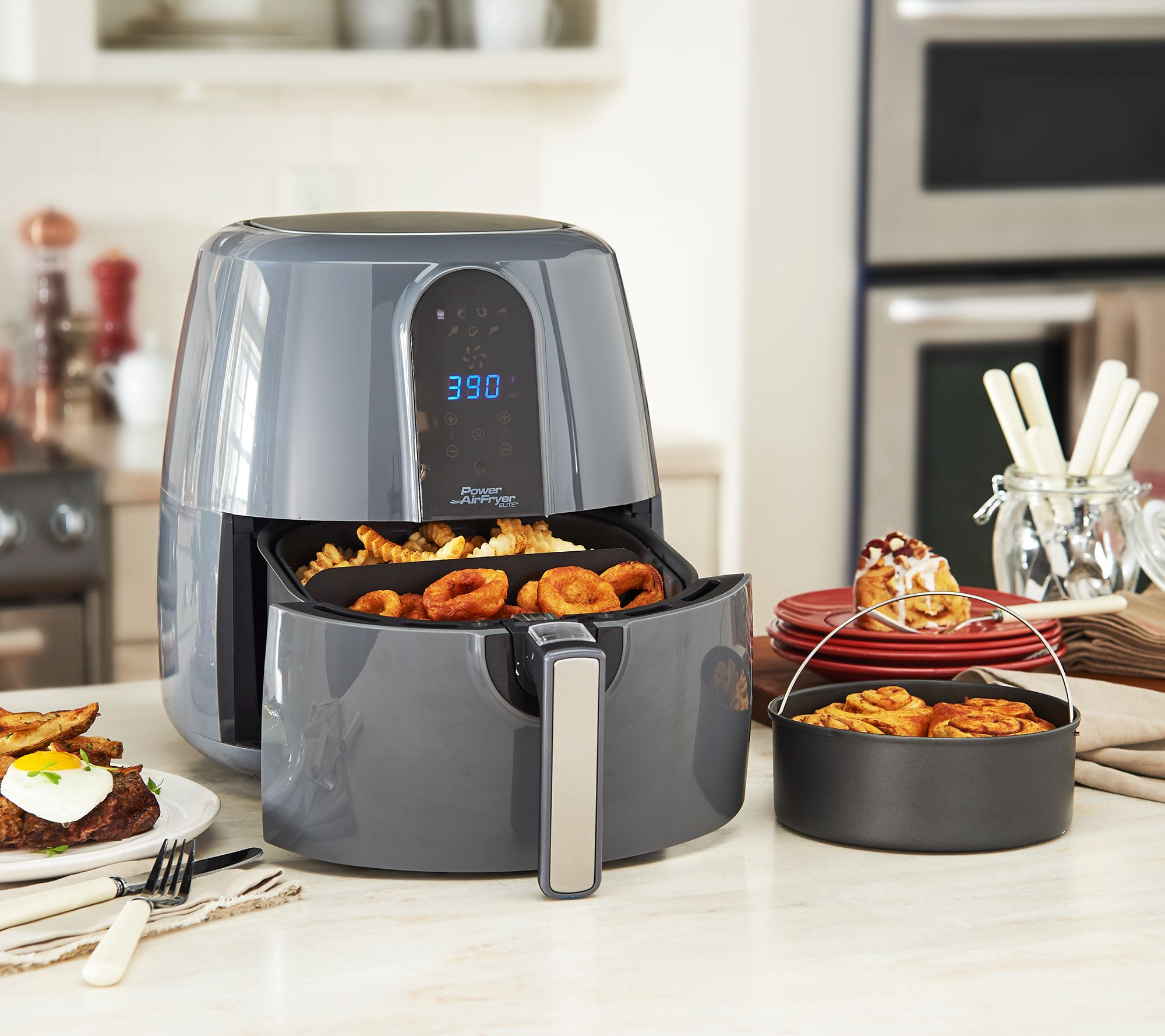 Power Air Fryer Elite 5 5-qt 6-in-1 Digital Air Fryer w/ Cake Pan — QVC com