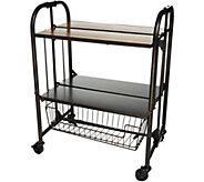 Gourmet Basics by Mikasa Wood Top Folding Cart with Basket - K46753