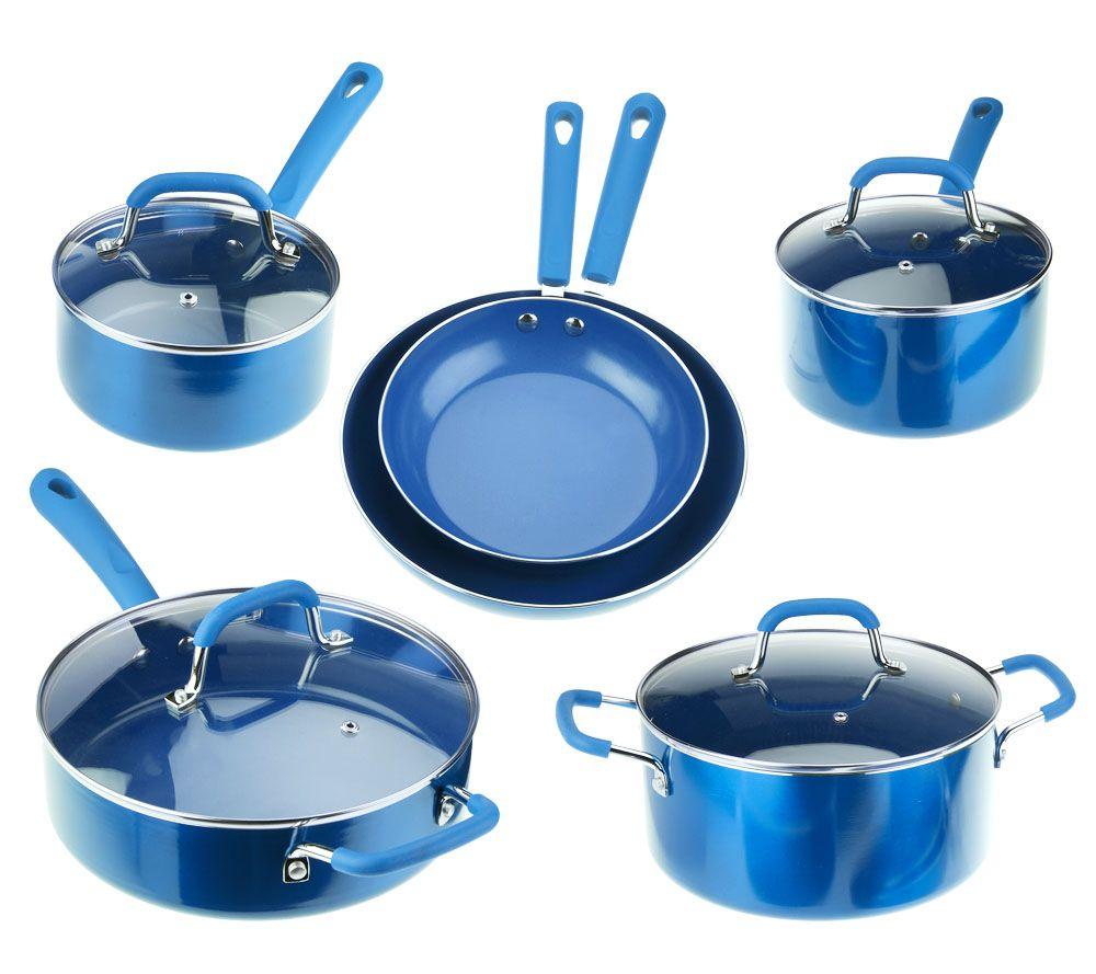 Everyday Kitchen 10-pc Aluminum Cookware Set w/ CeramicNonstick ...