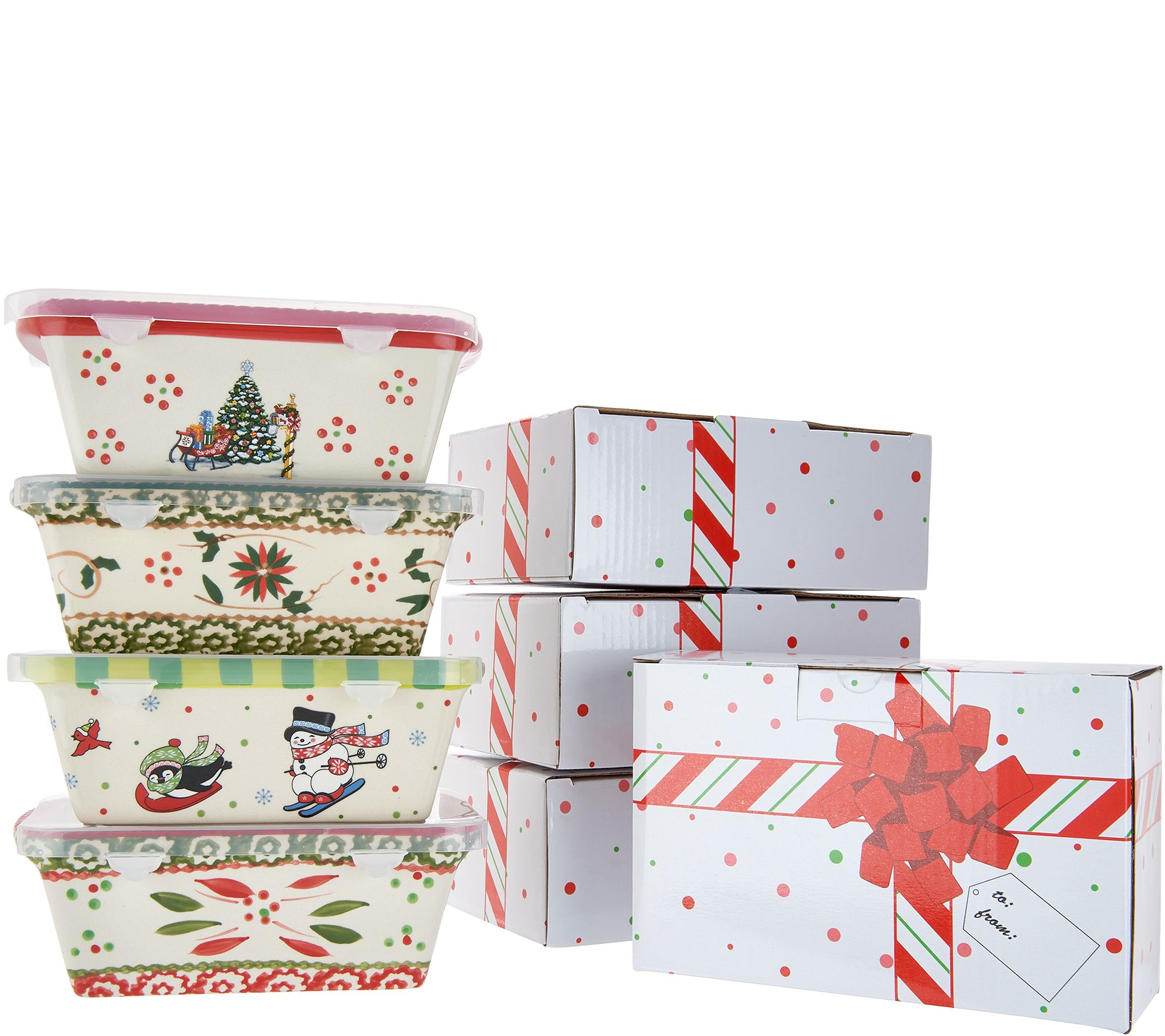 Temp Tations Set Of 4 Holiday Mini Loaf Pans W Gift Boxes Qvc Com