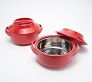 Set of (2) 9-cup Microwave Thermal Hot and Cold Serving Bowls with Lids - K48255
