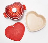 Le Creuset Cast-Iron 1-qt Heart Shaped Dutch Oven with Dish and Trivet - K48357