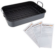 As Is Rachel Ray Hard Anodized Roaster with Rack & Recipes - K308059