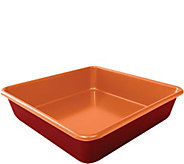 Red Copper Set of (2) 9.5 Square Cake Pans - K375659