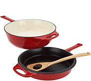 Rachael Ray 4-qt Cast Iron Chef Pan with Skillet & Wooden Spoon - K46860