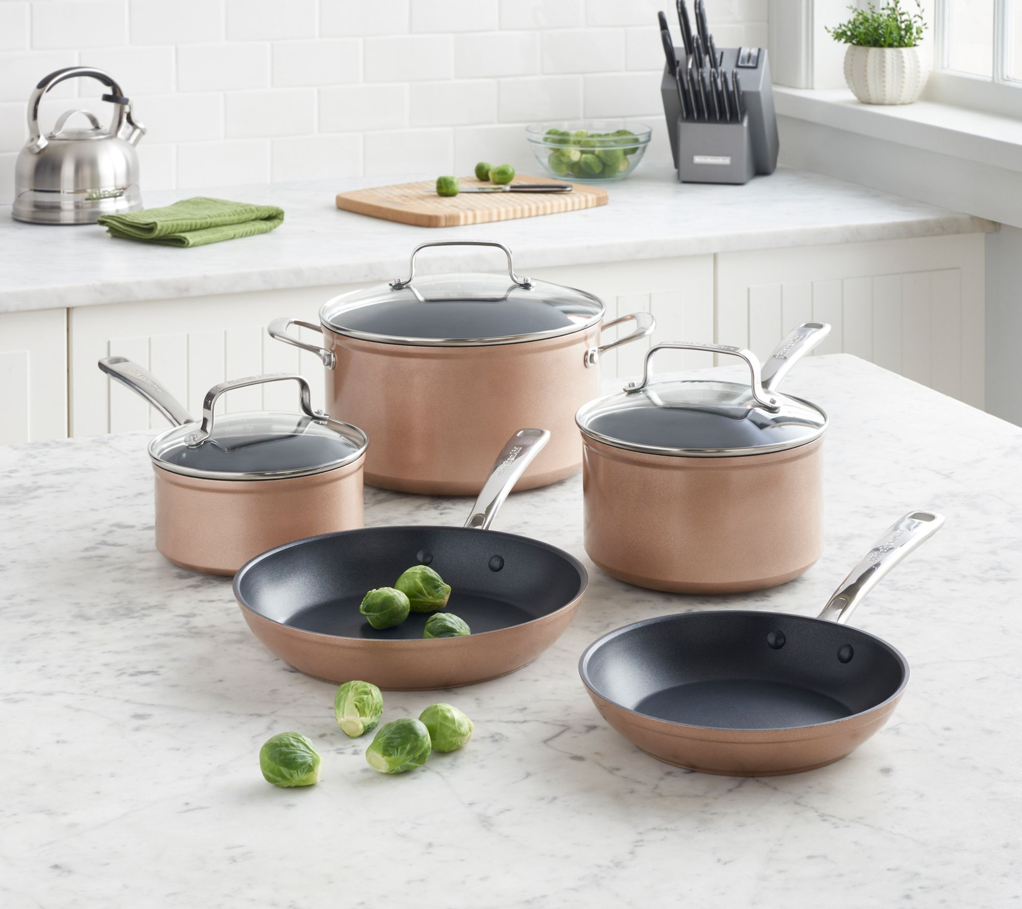 KitchenAid Hard Anodized Nonstick Cookware Set-Toffee Delight — QVC.com