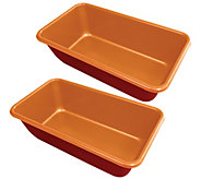 Red Copper Set of 2 Loaf Pans - K375661