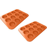 Red Copper Set of 2 Muffin Pans - K375665