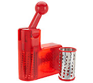 CooksEssentials Ratchet Cheese Grater w/ Extra Fine & Coarse Barrels - K40565