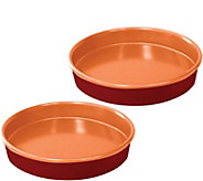 Red Copper Set of (2) 9.5 Round Cake Pans - K375667