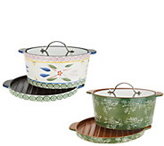 Temp-tations Old World or Floral Lace 3qt Stove Top Baker with Grill Lid - K46967