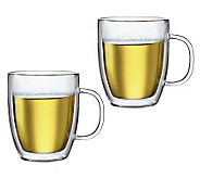 Bodum Bistro Set of 2 Double Wall Glass Mugs, 15 oz - K297668