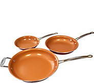 Red Copper 3-Piece Round Pan Set - K375669