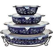 Temp-tations Floral Lace Set of 4 Oval Bakers - K45969