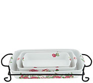 Darbie Angell Rose Porcelain 4-piece Bake & Serve w/ Gift Box - K46769