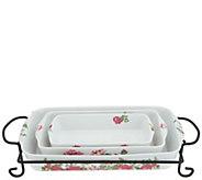 Darbie Angell Rose Porcelain 4-piece Bake & Serve w/ Gift Box - K46769