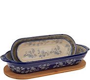 Temp-tations Floral Lace Set of 3 Oval Nesting Bakers w/ Wooden Lid - K47770