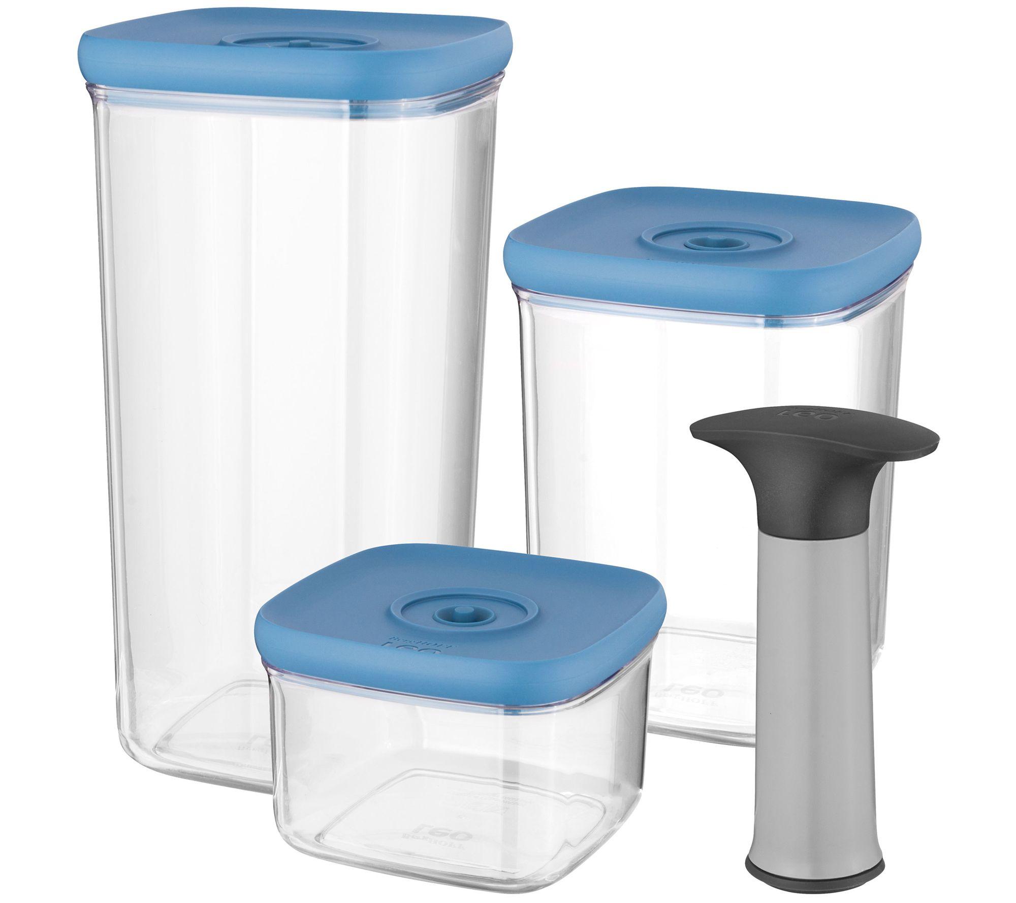 BergHOFF Leo 4-Piece Vacuum Food Container Set- Blue — QVC.com