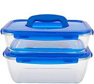 Lock & Lock 2-Piece Glass Rectangle Baking Dishes w/ Handle Lids - K47771