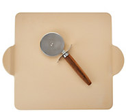 As Is Rachael Ray Set of 2 Pizza Stone & Cutter - K307672