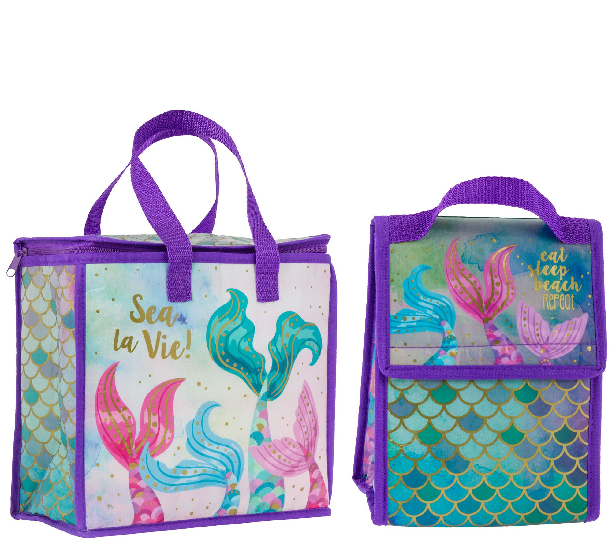 3accc360e372 Karma Gifts Mermaid Cooler Bag and Lunch Sack — QVC.com