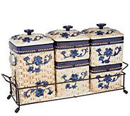 Temp-tations Floral Lace Ceramic Canister Set w/ Metal Rack - K46973