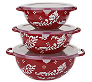 Valerie Bertinelli 3-Piece Hand Painted Bowl Set w/ Lids - K46775