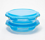 Lock & Lock Set of 2 Glass Pie Dishes with Lids - K47775