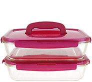 Lock & Lock Set of 2 Glass Rectangle Dishes with Handles - K47776