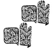 Lavish Home 4-Piece Oven Mitt & Pot Holder Set - K375577