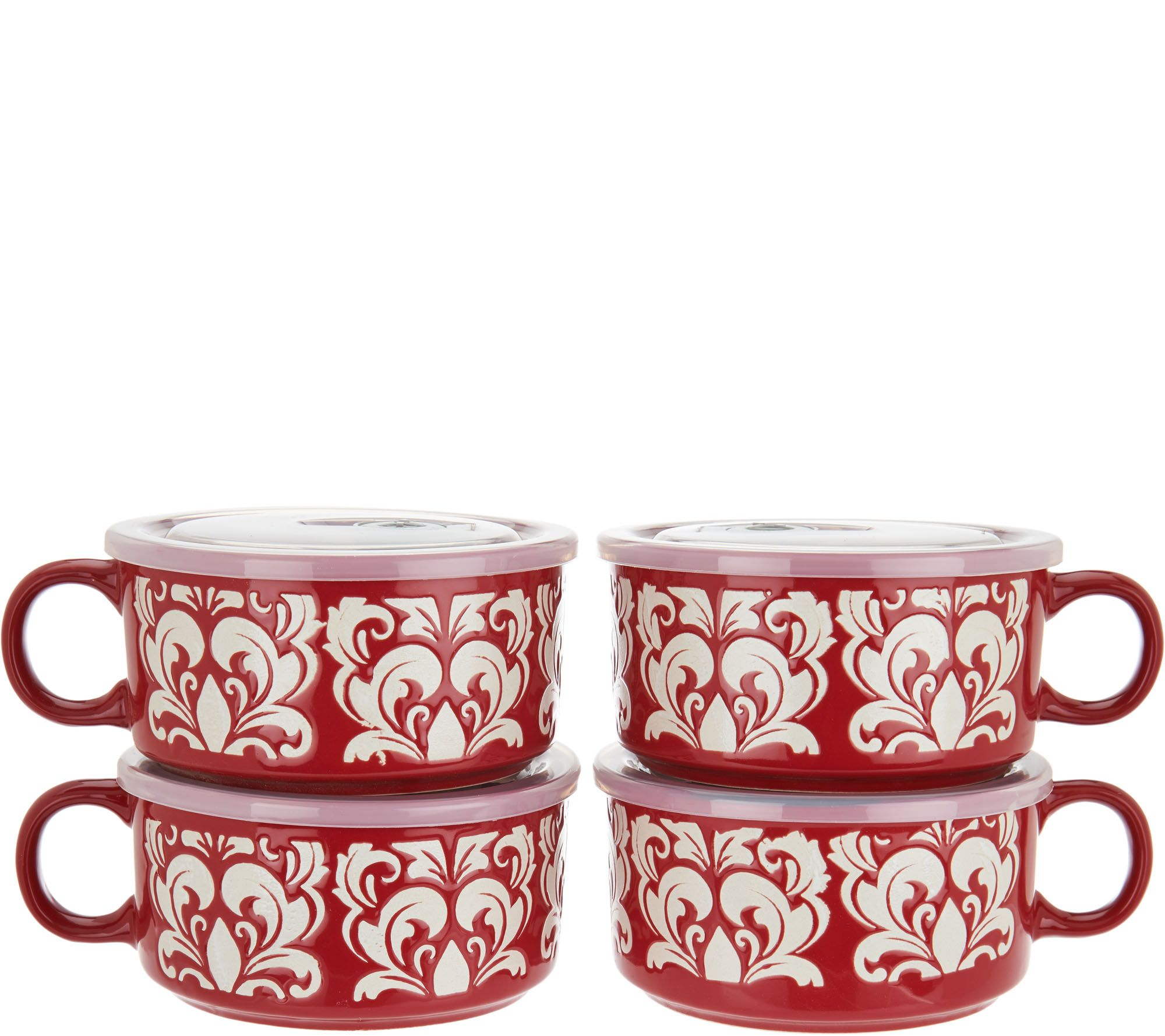 As Is Cook S Essentials 4 Microwavable Ceramic Mugs W Vented Lids Qvc