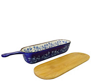 Temp-tations Floral Lace Bread Server with WoodCutting Board - K378478