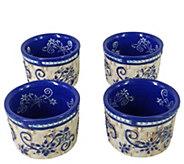 Temp-tations Floral Lace Basketweave Set of 4 Ramekins - K379980