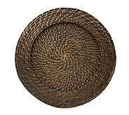 Charge It! by Jay 13 Set of 4 Brown Rattan Charger Plates - K297482