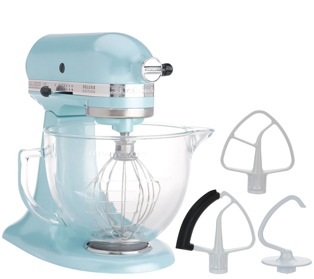 Excellent Kitchenaid 5 Qt 325W Tilt Head Stand Mixer W Glass Bowl Flexedge Beater Qvc Com Download Free Architecture Designs Ferenbritishbridgeorg