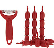 Kuhn Rikon Corn Zipper and 18 Heat Resistant Corn Holders - K46688