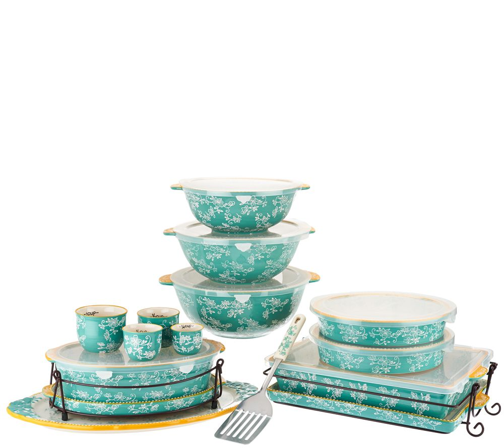 Temp-tations Floral Lace Spring Colors 18-pc Bake and Serve Set ...