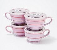 Set of 4 22oz Souper Mugs with Reactive Glaze - K48292