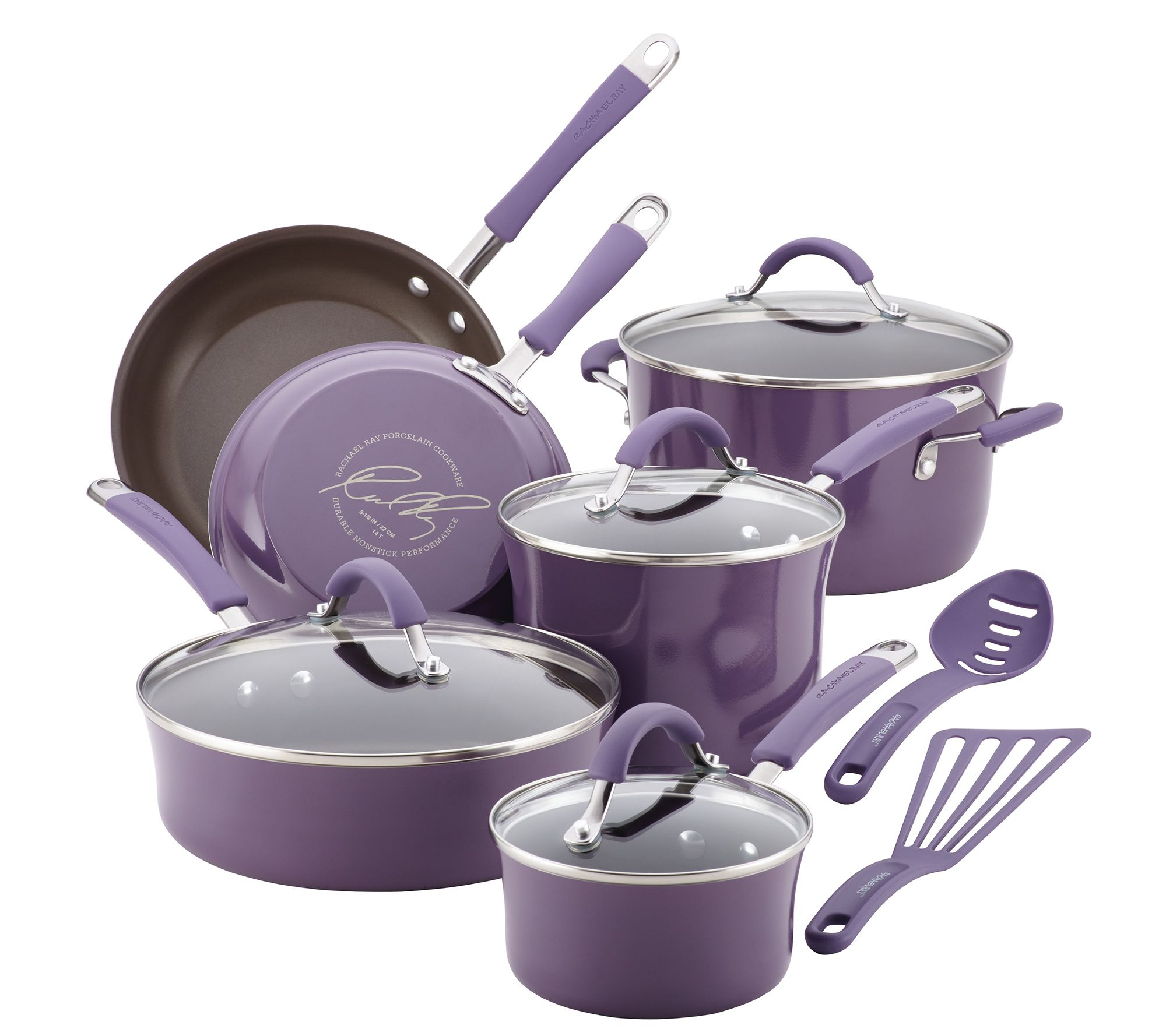 Rachael ray cucina hard enamel 12 piece cookware set page 1 qvc com