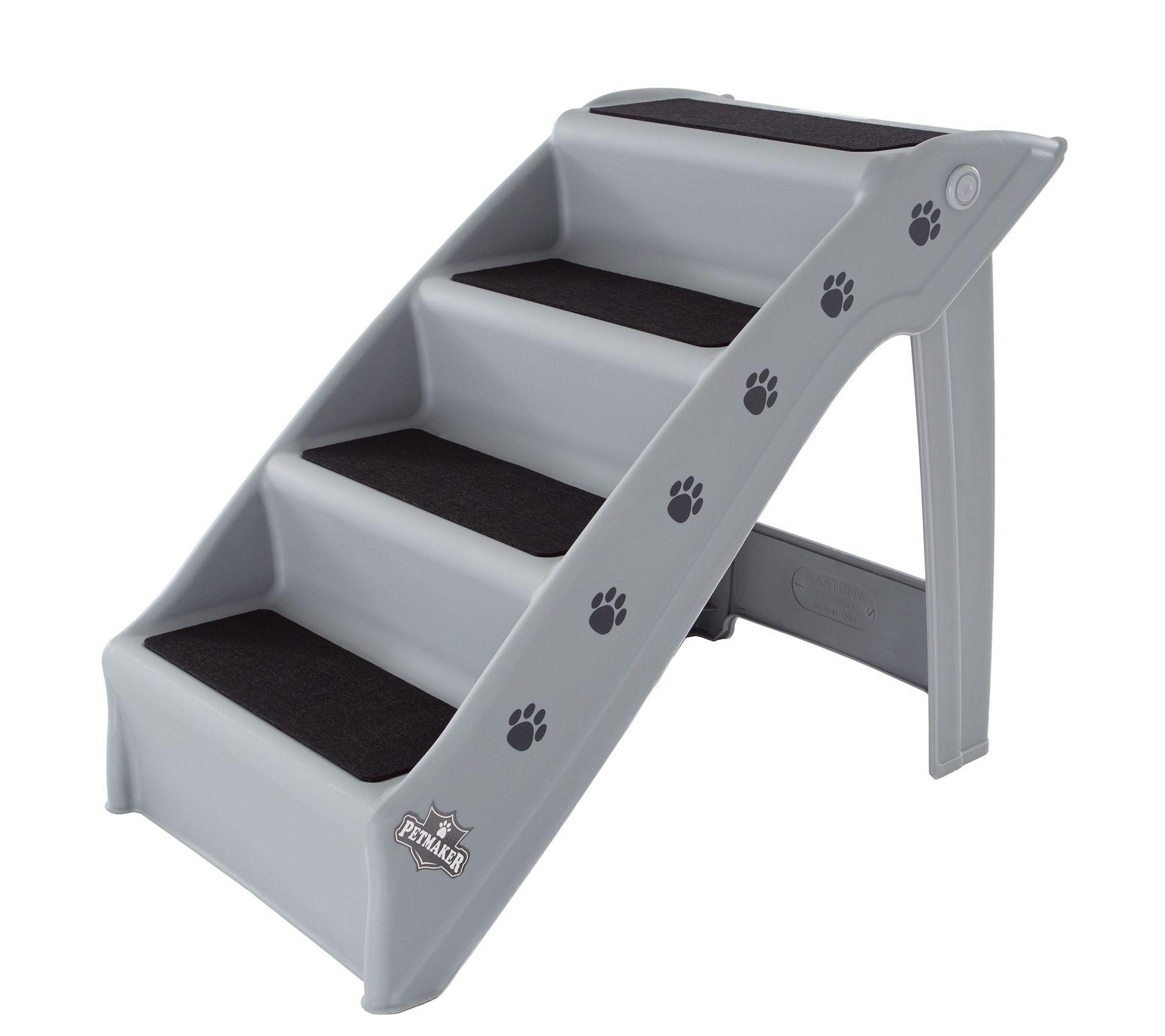 Awe Inspiring Petmaker 4 Step Folding Plastic Pet Stairs Qvc Com Dailytribune Chair Design For Home Dailytribuneorg