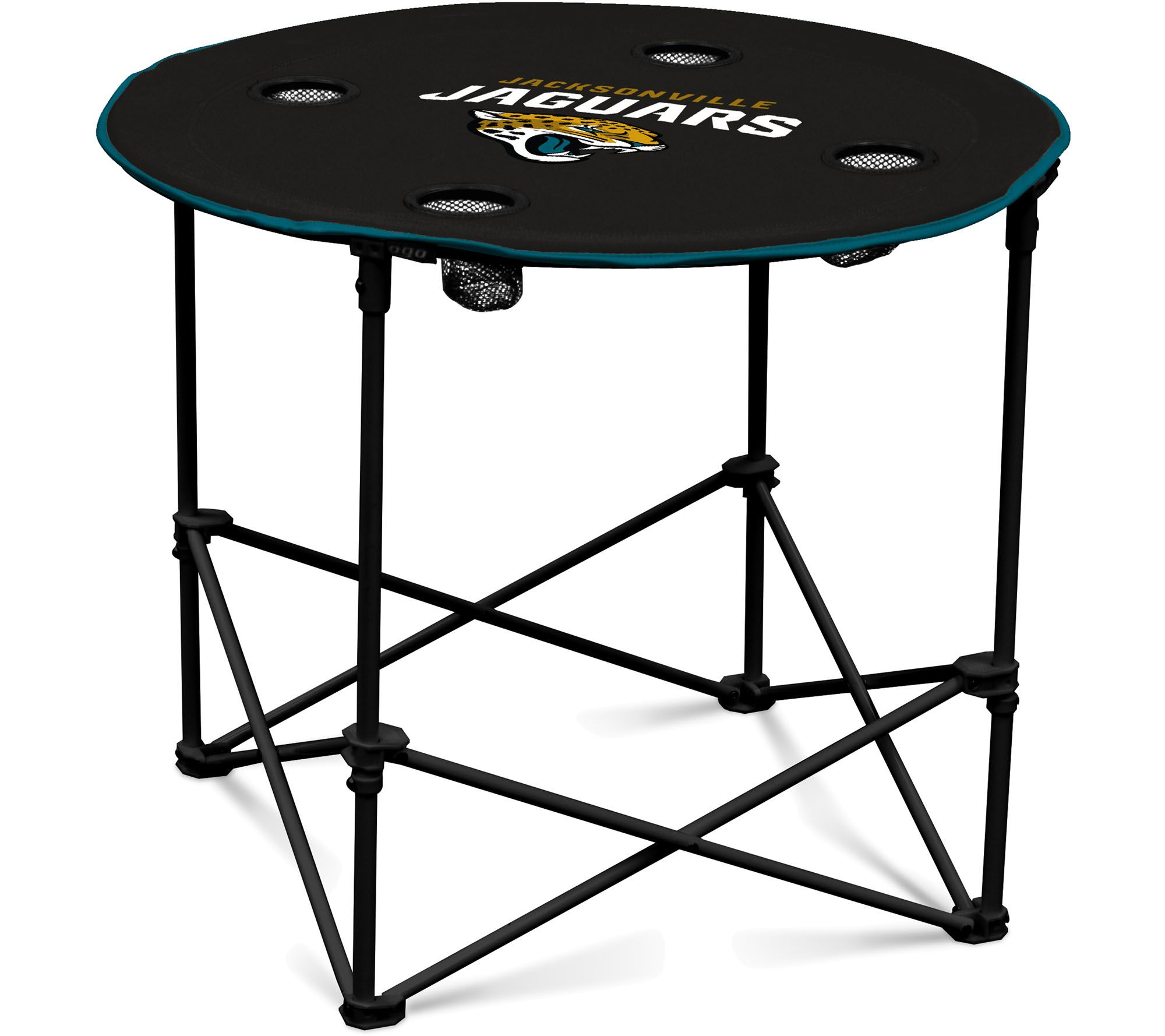 Collapsible round table with cup holders