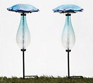 Set of 2 Secret Solar Mushroom Garden Stakes by Evergreen - M60411