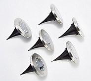 Bell & Howell Set of 6 Super Deluxe Solar 10-LED Disk Light w/ Stake - M66811
