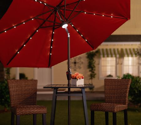 ATLeisure 9u0027 Light Solar Patio Umbrella With 44 LEDu0027s And Cover   Page 1 U2014  QVC.com