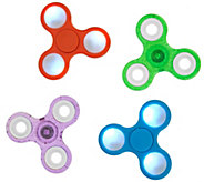 Set of 4 Fidget Spinner Gadgets w/ LED and Classic Designs - M54816