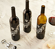 SH 12/3 Martha Stewart 3 Bottle Holiday Wine Set w/ Gift Bags - M60118