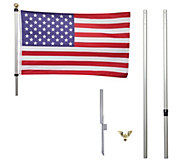 Proud Patriot 12 Tangle Free Flag Pole w/ American Flag & Finials - M60818