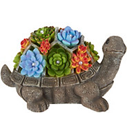 Plow & Hearth Animal Statuary with Illuminated Succulents - M55524